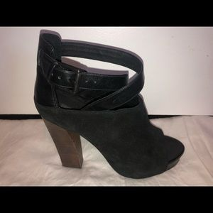 All saints. Size 9 black suede hooded heels